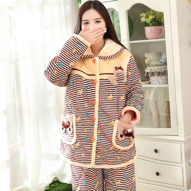 Flannel Nightwear New Autumn And Winter Pajama Sets  Soft Thick Warm Quilted Pajamas Women Suits Pijama De Animal