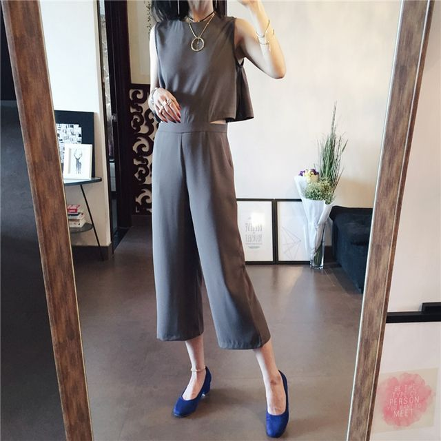 2016 New Summer Fashoin Loose Wide Leg Jumpsuit Rompers Black Calf Length Sleeveless Casual Pants Green