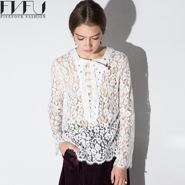 Fashion 2017 Lace Top Women Spring Autumn Elegant White Lace Blouse Loose Sexy Hollow Long Sleeve Shirt Women Blouses Plus Size