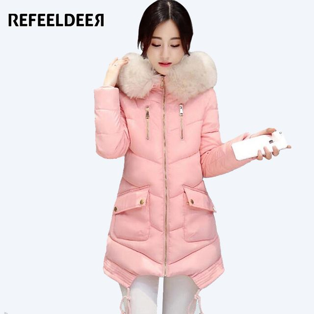 Clearance Thick Warm Women's Winter Jacket 2016 Fur Collar Parka For Women Winter Jacket Coat Female