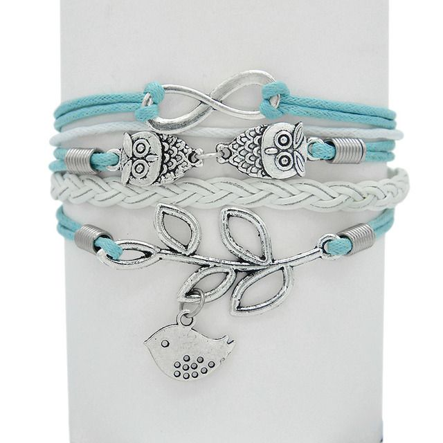 Green Fish Owls Rope Silver Plated Leather Multi-layers Bangles & Bracelets Christmas Gift Leather Cuff Bracelets Emma Florence