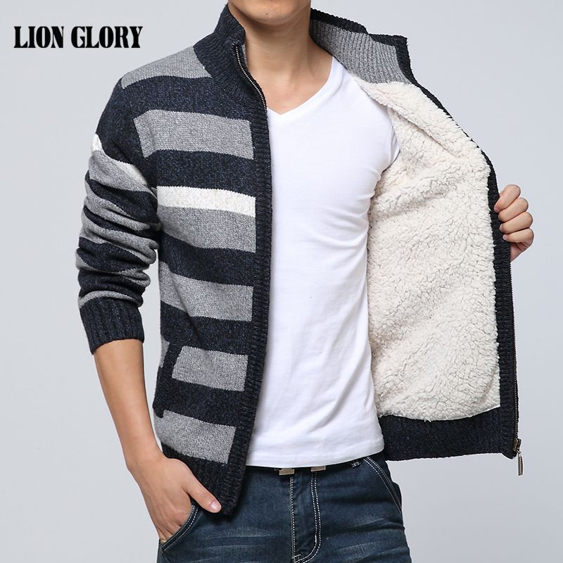 Men's 2019 Autumn and Winter Striped Knit Cardigan Jacket Tide Big Yards Plus Thick Velvet Collar Sweater Striped Jacket