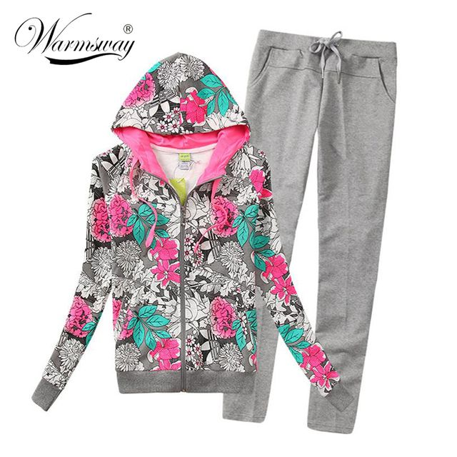 High quality Ladies Zipper hoodies sets Floral print Tracksuits for women Fashion women hoody Coats Jacket with Pants WH-014
