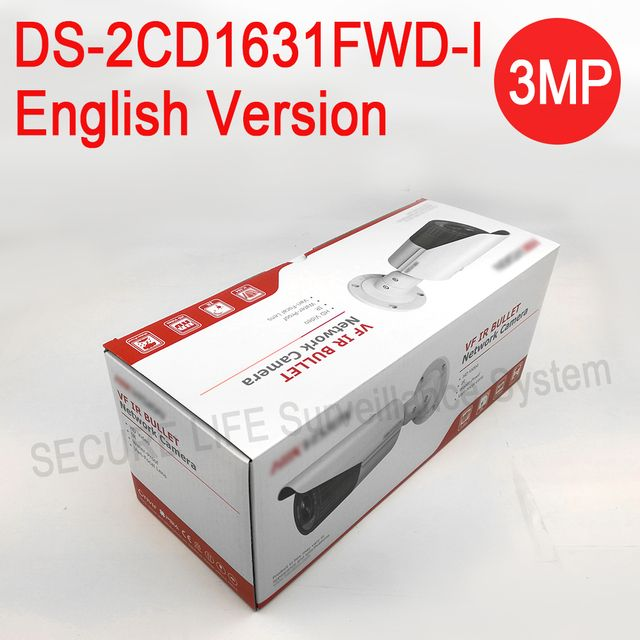 Free shipping English version DS-2CD1631FWD-I replace DS-2CD2635F-IS/ZJ 3MP CCTV IP camera vari-focal lens 2.8-12mm POE IP67