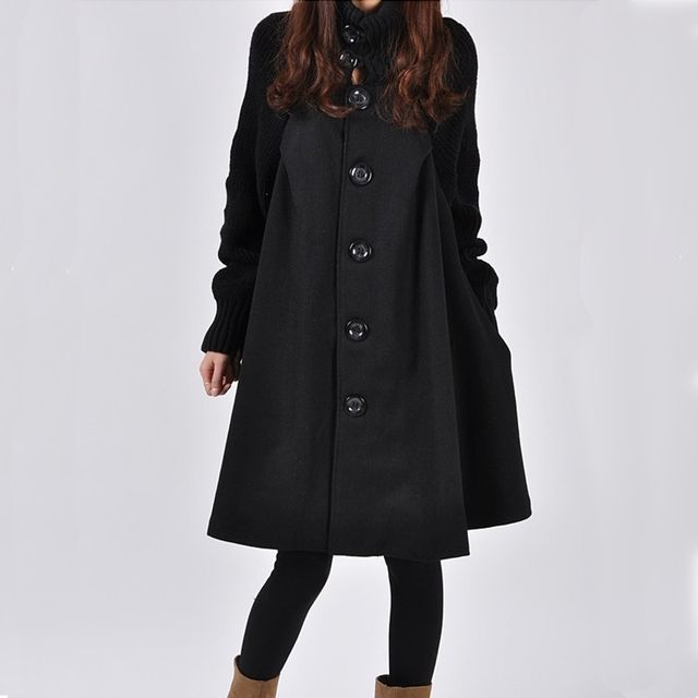 Autumn and Winter Fashion Long Oversized Cloak Woolen Trench Coat Freeshipping