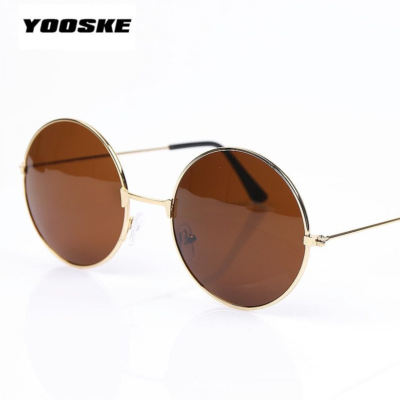 YOOSKE Fashion Round Brown Black Women Men Brand Designer  Sunglasses Gold Multi Vintage Circle Sun Glasses For Female Male
