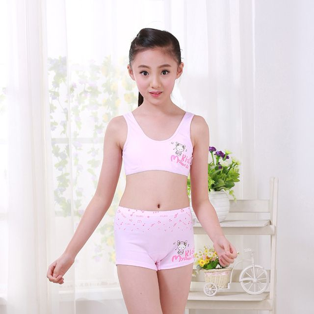 2017 Girls Underwear Set Cosy Undies Puberty Teenagers Student Sport Set Pretty Children Rabbit Cotton Training Bras Vest Boxer