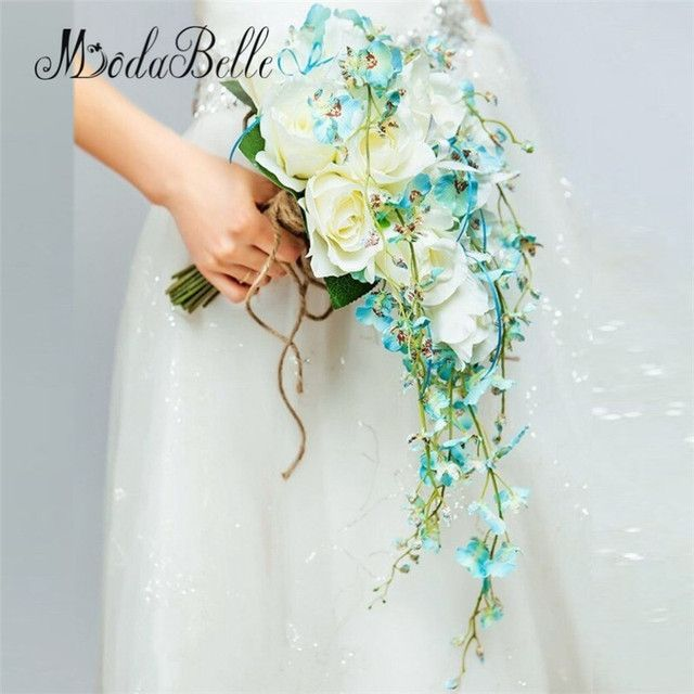 Blue/Yellow Waterfall Elegant Wedding Bouquets Artificial Bridal Brooch Bouquet Wedding Bouquet For Brides Bruidsboeket 2017