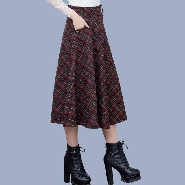 Plus Size Women Plaid Skirt New Winter Woolen Skirts High Waist Women's Clothing British Style Maxi Skirt Saias Femininas C1621