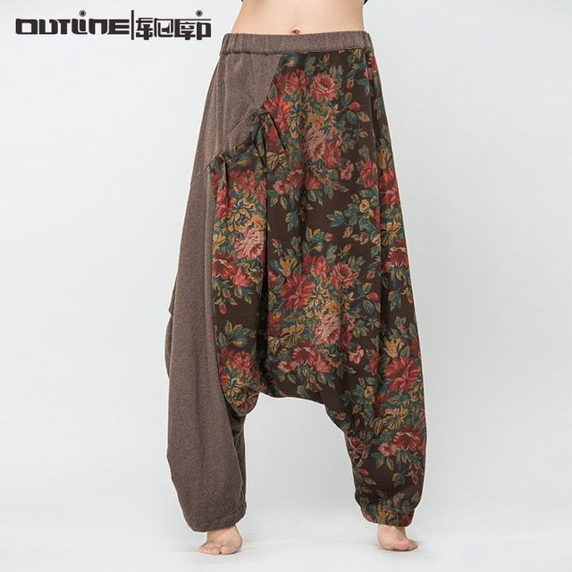 Outline Brand Woman Casual Pant Loose Vintage Trouser Flower Patchwork Elastic Cotton Linen Pant Women Maxi Harem Pants L143K003