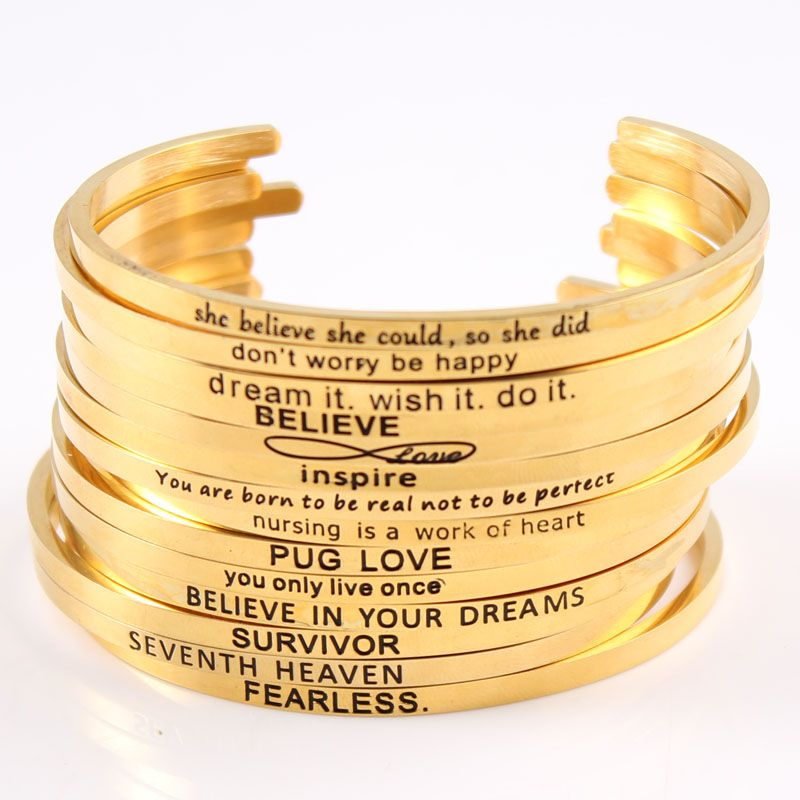 Wholesale Gold Color Stainless Steel Inspirational Hand imprint BAR Cuff Bracelet Mantra Bracelets Bangle on Aliexpress