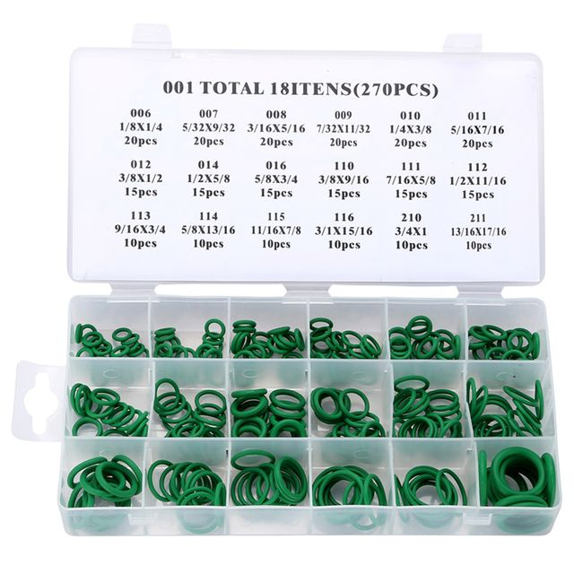 270 pcs Rubber O Ring O-Ring Washer Seals Watertightness Assortment Different Size With Plastic Box Kit