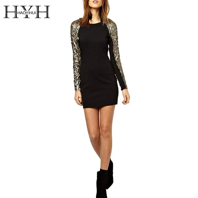 HYH HAOYIHUI 2017 Brand New Autumn Women Fashion Sequined Color Block Contrast Long Sleeve Bodycon Dress Slim Mini Dress