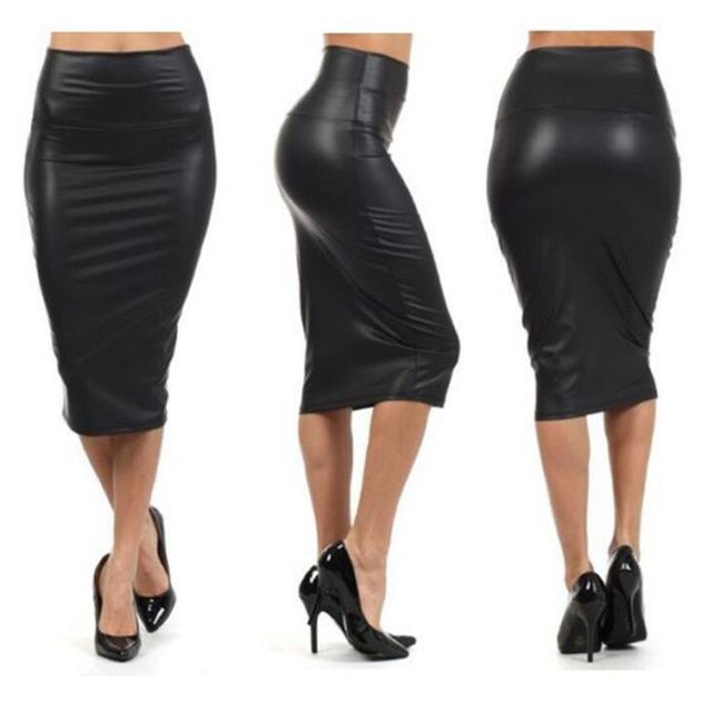 Autumn Winter Women Skirt Midi Skirt OL Sexy Slim stretch High waist faux leather pencil skirt Elegant Ladies Skirts 2 Colors