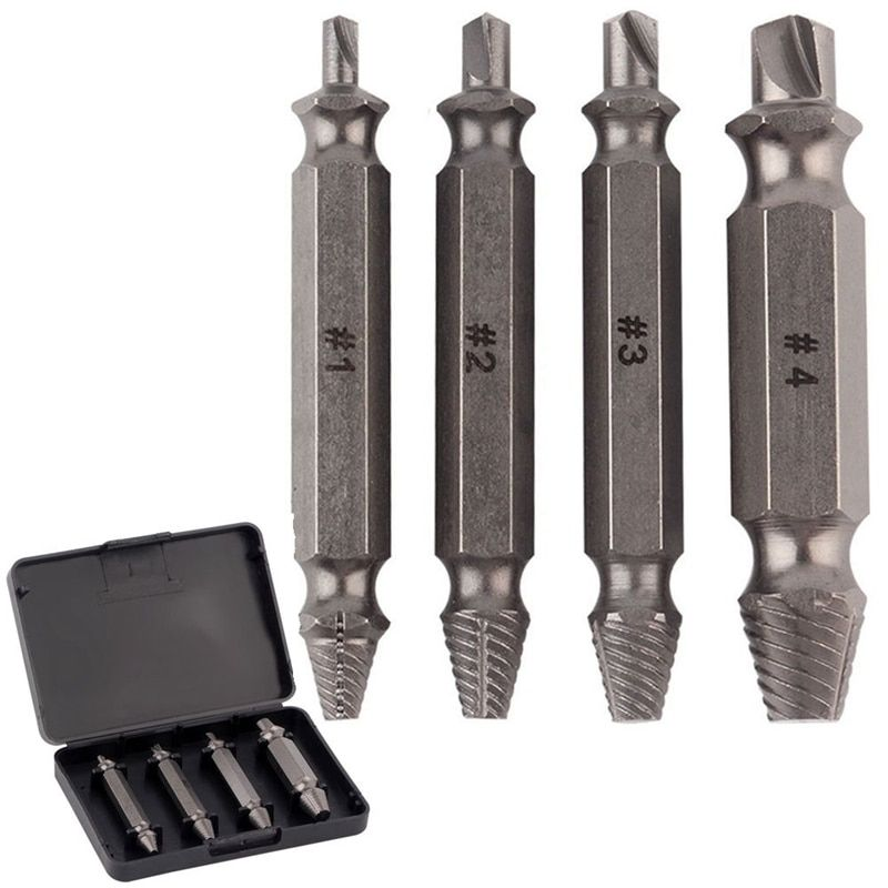 4pcs Screw Extractor Drill Set Broken Rusted Stripped Damaged Screw speed remove out Bolt Remover Tools Screw Remover Extractors