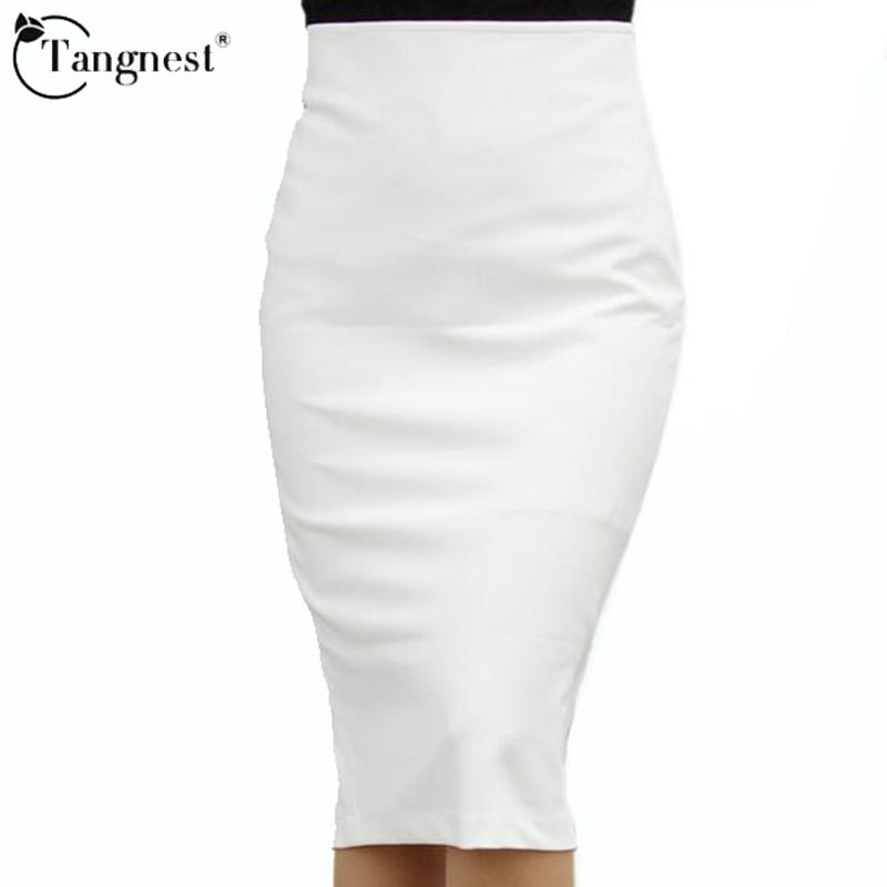 TANGNEST New Black White Skirt 2017 Summer Women High Waist KneeLength Midi Pencil OL Office Skirts Saias Femininas WQB228