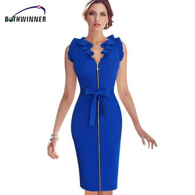 Bothwinner  Blue Frill Flounced Belted Bow Zipper Front Wear to Work Sheath Pencil Fitted Dress Party Evening Elegant Vestidos