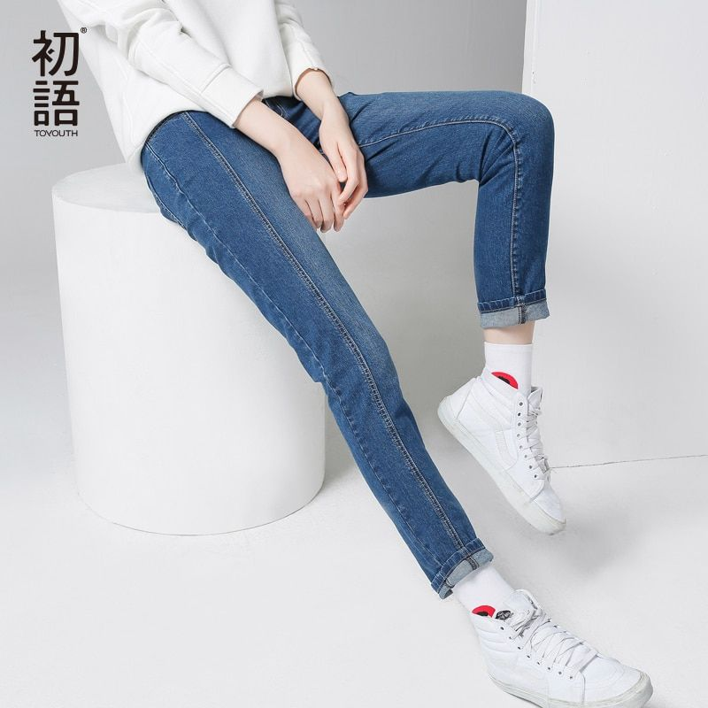 Toyouth Women Winter New Jeans Solid All-Match Jeans Pants Fashion XXL Pencil Pants Jeans