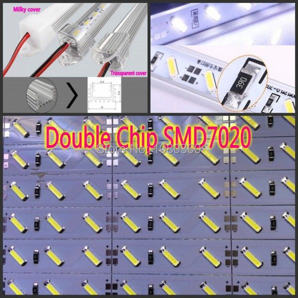 50set 12V 24V Led Bar 7020 led Hard Strip Light 100cm 50cm Waterproof SAMSUNG Chip + U aluminium profile set