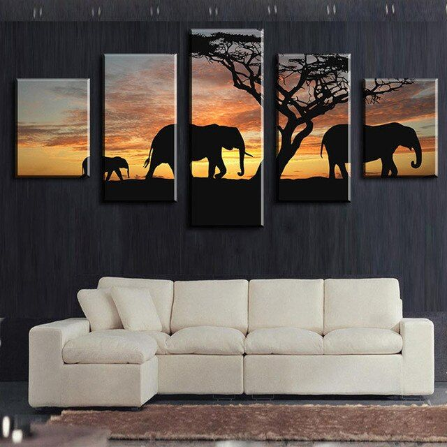 5 Pieces Canvas painting  Wall Art Decoration for home Paintings Africa Elephant Painting Art Canvas For Living Room