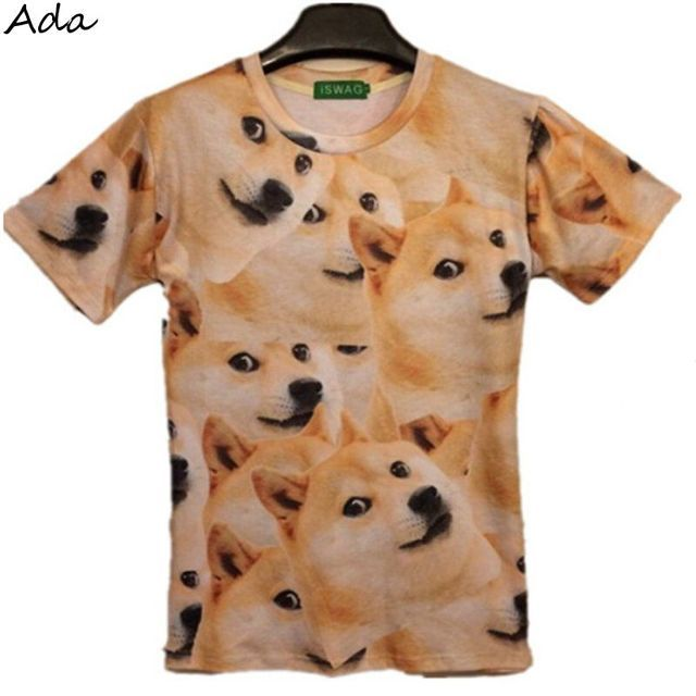 [Ada] 2016 summer Fashion men t-shirt Lovely dog design printing short sleeve novely animal 3d t shirt women dog t shirt