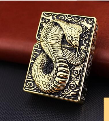 Home furnishings zorro  kerosene domineering terrorist individuality creative ultra-thin windproof lighters cobra gold cobra