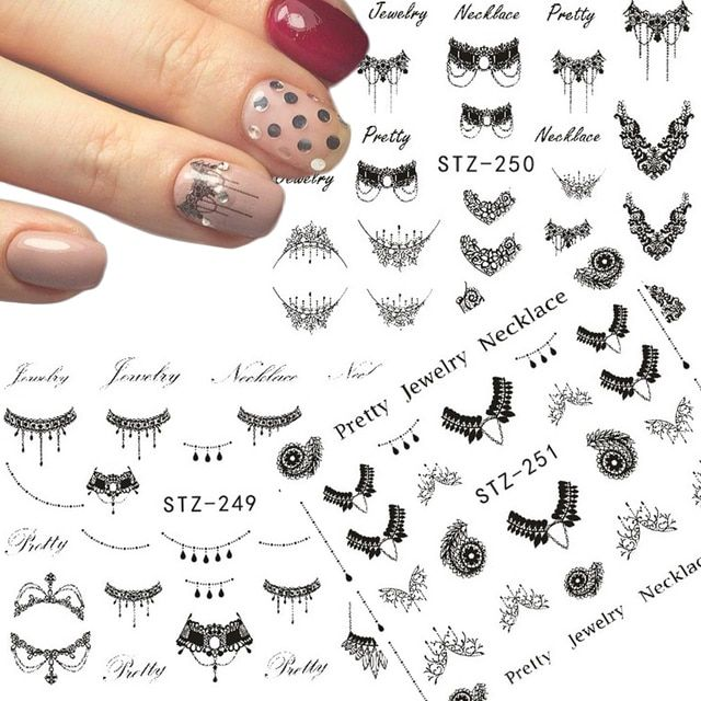1 Sheets Nail Sticker Fashionable Jewelry Designs Water Transfer DIY Black Necklace/Ring Decals Nail Art TRSTZ249/250