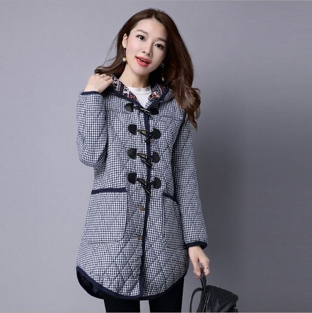 2016 cotton and linen jacket large yards thicker lattice hooded long coat