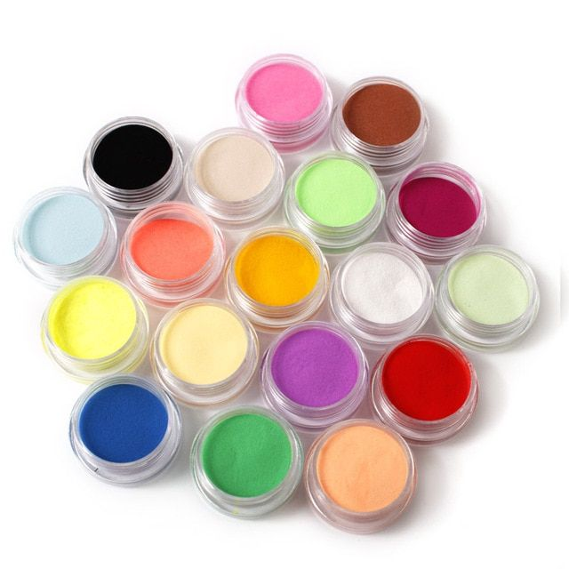 18 Colors Nail Art Glitter Powder Dust Decoration Fashion Acrylic Nail Tips