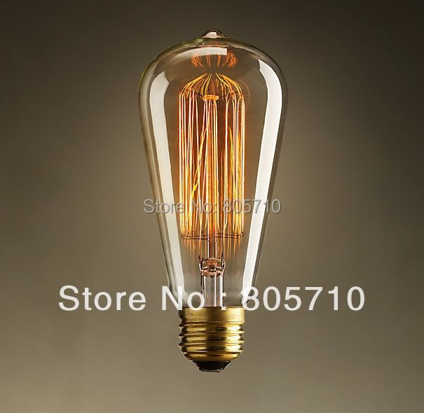 ST64 Edison  Bulb E26/E27 220V  40W  Warm White  Glass Material 60*140(mm) 2Pcs/Lot  Antique lamp FREE SHIPPING!