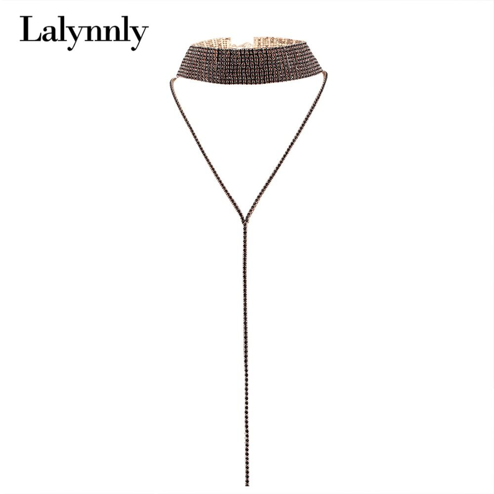 Lalynnly Gothic Rhinestone Choker Necklace  Long Chain Women Body Neck Chain Choker Necklace With Pendant Jewelry N55781