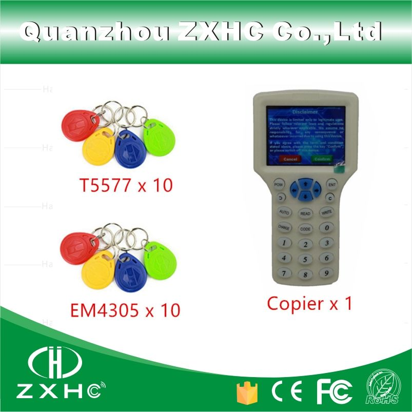 English Language RFID Key Fob Reader Writer Copier Duplicator 10 Frequency For IC/ID/H-ID Cards + 20pcs T5577 EM4305 Tags