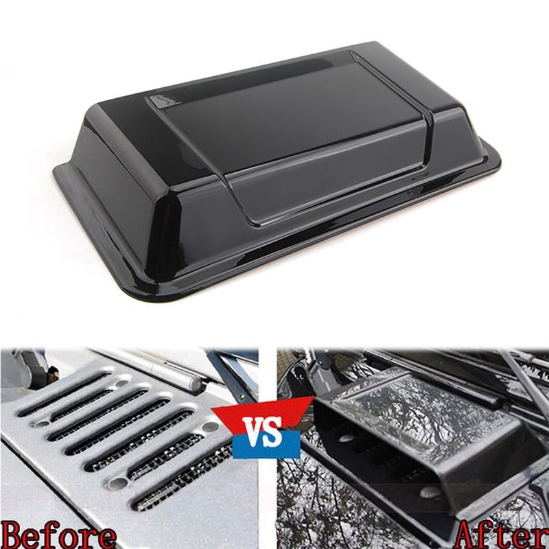 Black Cowl Hood Vent Scoop Air Flow Intake Turbo Bonnet Vent Cover Decal Fit For Wrangler TJ 1998 -2006 JK 1998-2015 Car Styling