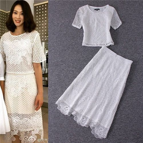 womens two piece sets 2016 2 pcs outfits summer style heavy lace short sleeve tops and slim mid calf skirts sets all white cloth