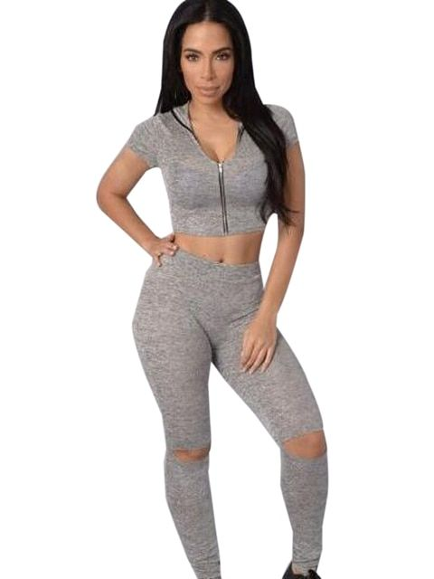Two Pieces Jumpsuit Hooded Crop Open Knee V Neck Short Sleeve Gray  Fitness Bodycon Overalls For Women Playsuit Women 2016
