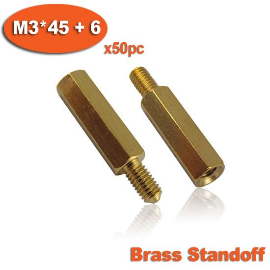 50pcs Male To Female Thread M3 x 45mm + 6mm Brass Hexagon Hex Standoff Spacer Pillars