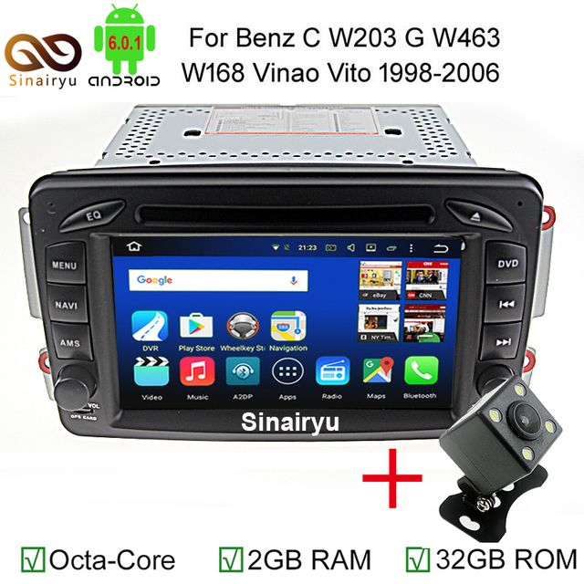 MJDXL Android 6.0 2 Din Car DVD Player for Mercedes Benz CLK W209 W203 W168 W208 W463 W170 Vaneo Viano Vito E210 C208 Canbus