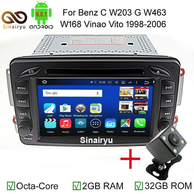 Sinairyu Android 6.0 2 Din Car DVD Player for Mercedes Benz CLK W209 W203 W168 W208 W463 W170 Vaneo Viano Vito E210 C208 Canbus