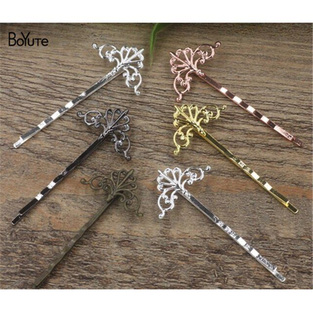 BoYuTe 20Pcs 16*28MM Filigree Flower Hair Jewelry 6 Colors Plated Women Barrette Hair Accessories