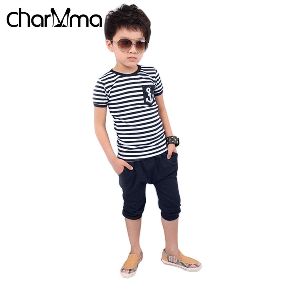 Kids Clothing Set Casual Boys Clothing Pants+Tops Navy Stripe Boat Anchor Pattern Children Tracksuit Summer Boys Clothes Suits