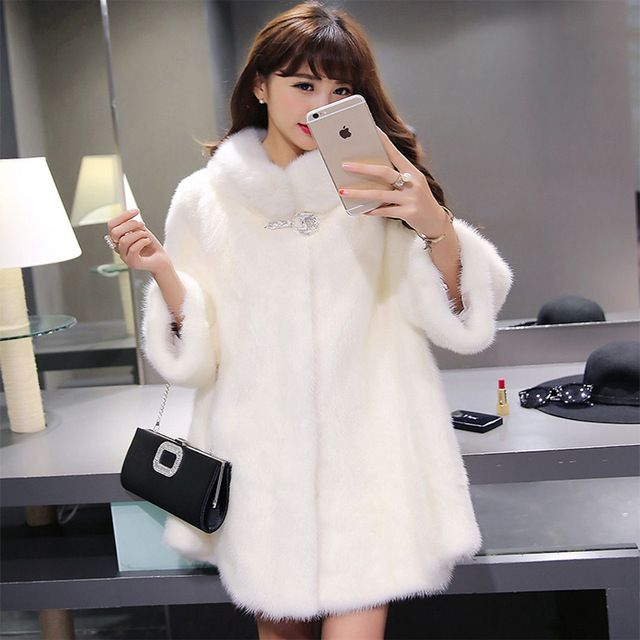 Aelorxin Women Faux Fur Coat Jacket Winter Fur Coats Female 2017 Winter Three Quarter Sleeves Fur Coat Manteau Fourrure Femme