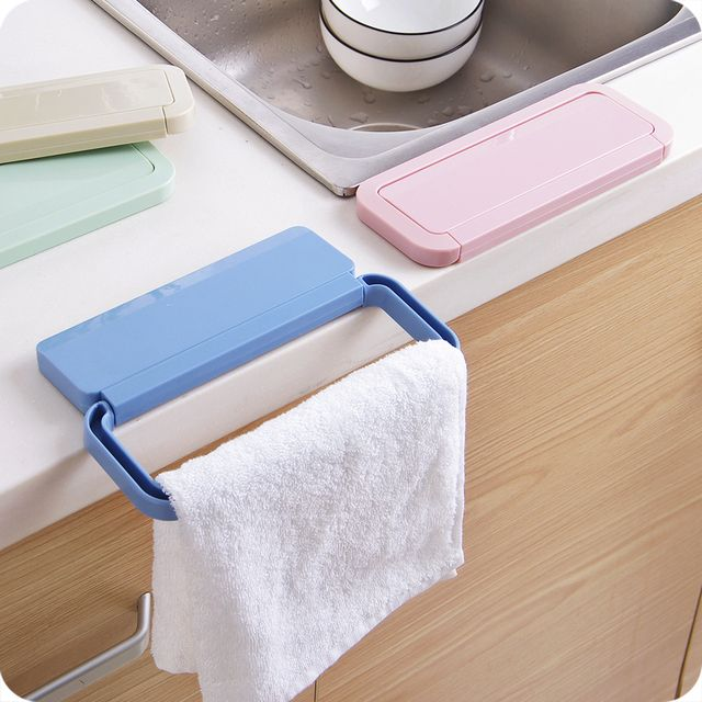 Creative Kitchen Cabinet rag towel hooks ABS plastic Kitchen Cupboard Door Back Style Stand Support holder bathroom Accessories
