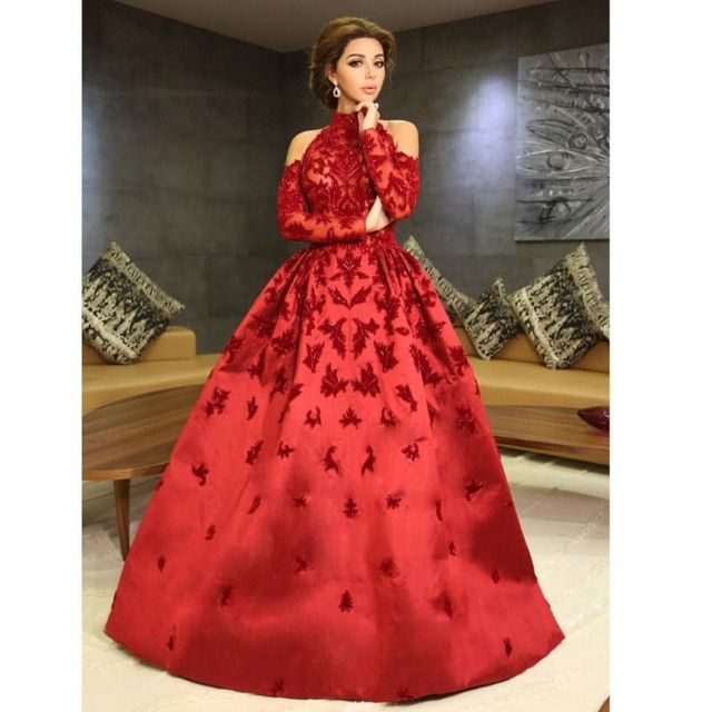 Myriam Fares Red Celebrity Dresses 2017 Ball Gown High Neck Applique with Long Sleeve Arabic Dubai Abiye Elegant Evening Gowns