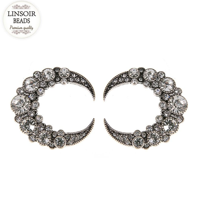 LINSOIR 2017 Metal Alloy Moon Star Earrings Stud For Women Fashion Jewelry Pave Cz Crystal Stud Earring Anillo Hombre F10104