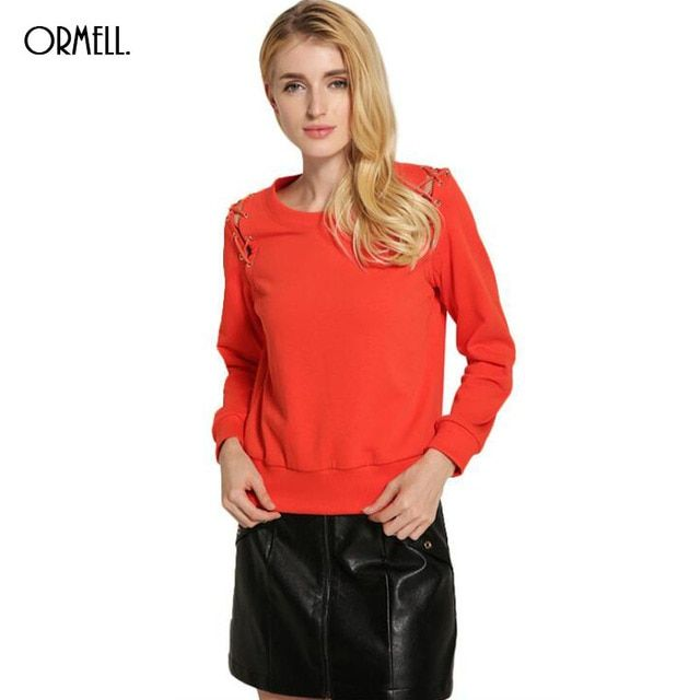 ORMELL 2016 Autumn Women Fashion Solid 5 Colors Brief Shoulder Bandage Loose Sweatshirt Long Sleeve O Neck Pullover Sweatshirt