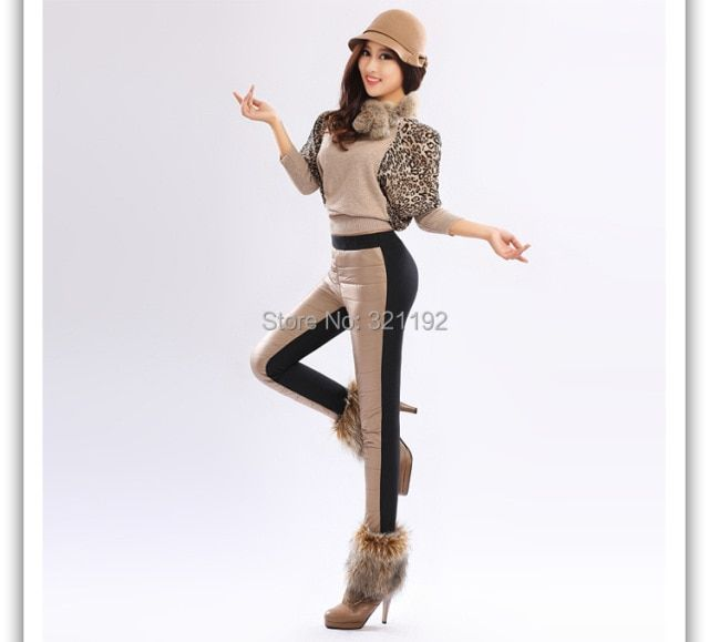 Female Pants Fashion Winter Imitation Down Pants Plus Thick Velvet  Warm Trousers Fashion splice women pattern pants Style