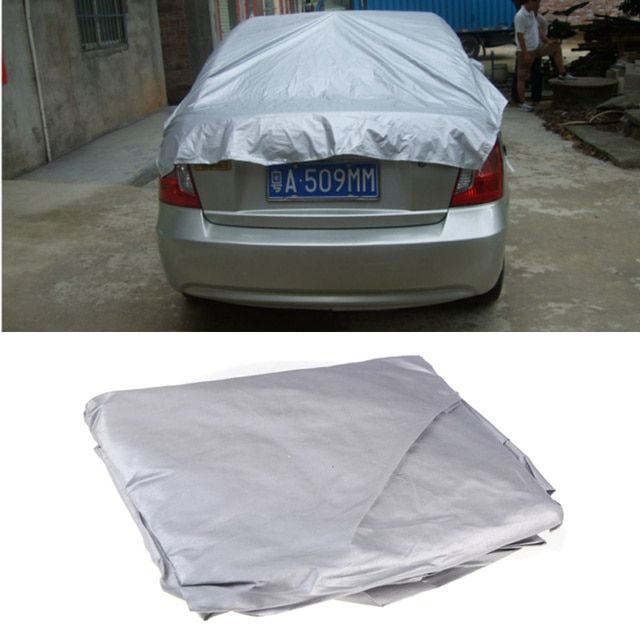 Nniversal Car Covers Prevent Heat Cold Snow Cover Car Rain Cover Half  Cover PVC Coating  Size XL 335 * 150cm