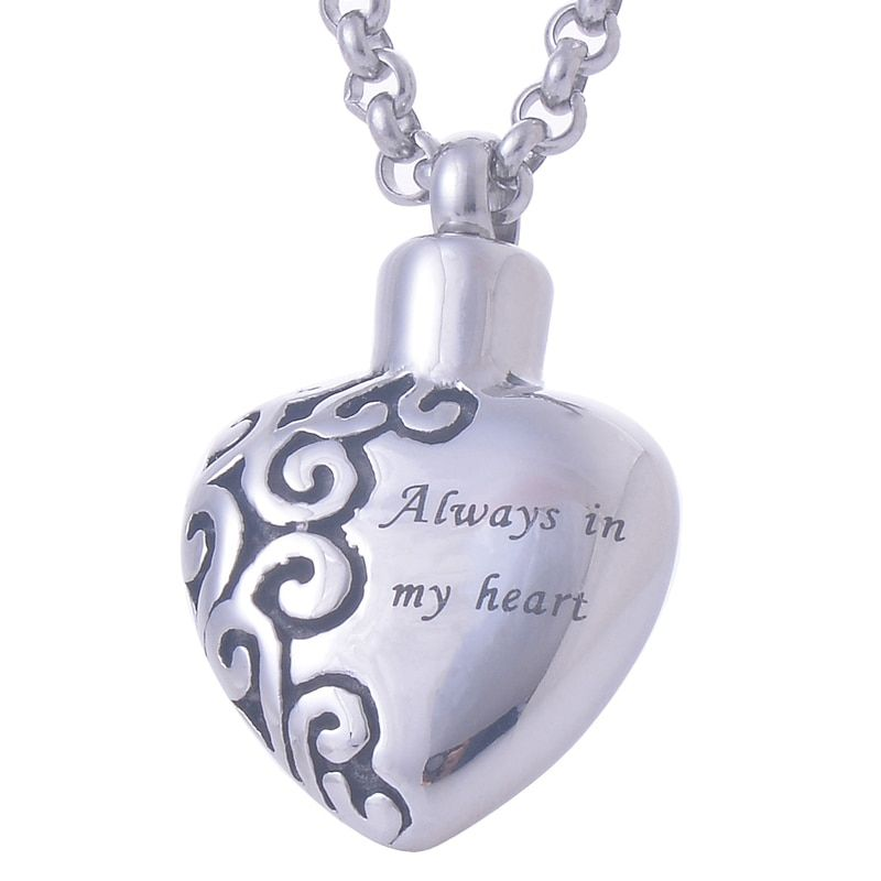316L Stainless Steel Heart Pendant Necklace Always in my heart memorial Cremation urn for ash Jewelry IRLY022