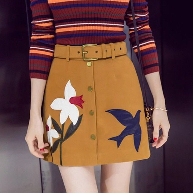 Ladies Fashion Suede Skirts Embroidered Flower And Bird Designs Office Lady Skirts Female 2016 New Autumn And Winter With Belt