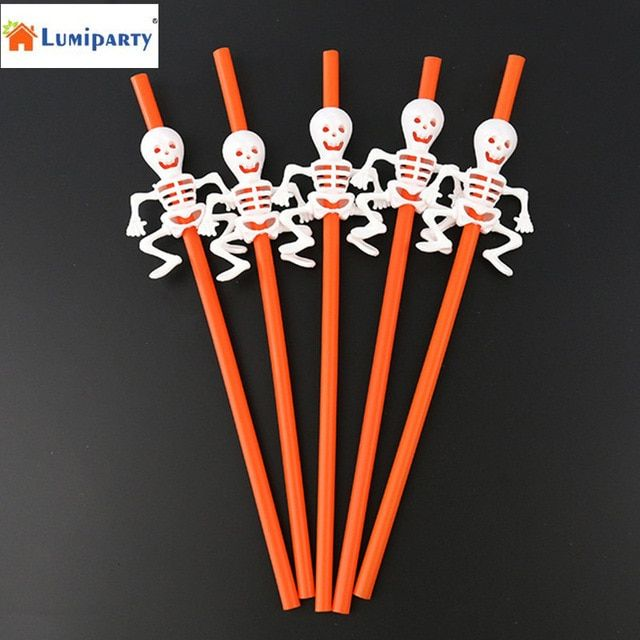 LumiParty 5pcs Halloween Party Pumpkin/Skeleton Drinking Straws Festive Spooky Fun Decoration Favors-35